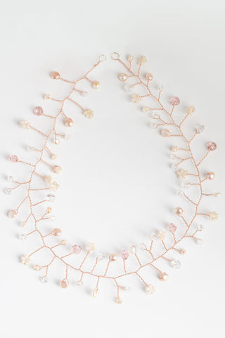 Rose gold, pink, blush, gold, ivory bridal hair vine; Handcrafted wedding headpiece by J'Adorn Designs custom jewelry and modern bridal accessories
