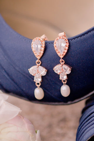 Rose gold bridal earrings with sparkly crystal cluster and freshwater pearls, comfortable wedding earrings for sensitive ears, couture wedding jewelry by J'Adorn Designs custom jeweler in Maryland