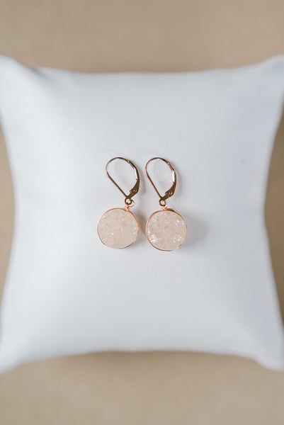 Champagne and Rose Gold Druzy Earrings