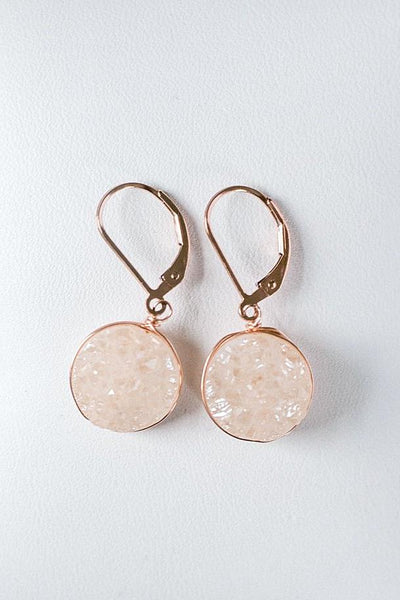 Delicate druzy earrings, rose gold drusy earrings, modern luxury jewelry by J'Adorn Designs