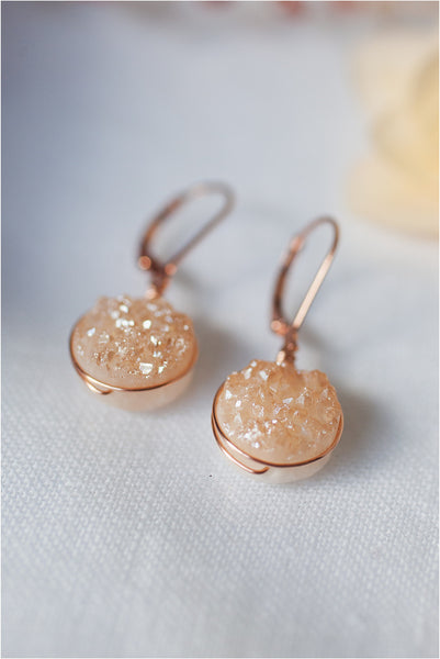 Delicate rose gold druzy earrings with lightweight wire wrap. Sparkly gemstone earrings by J'Adorn Designs artisan jewelry and luxury bridal accessories.