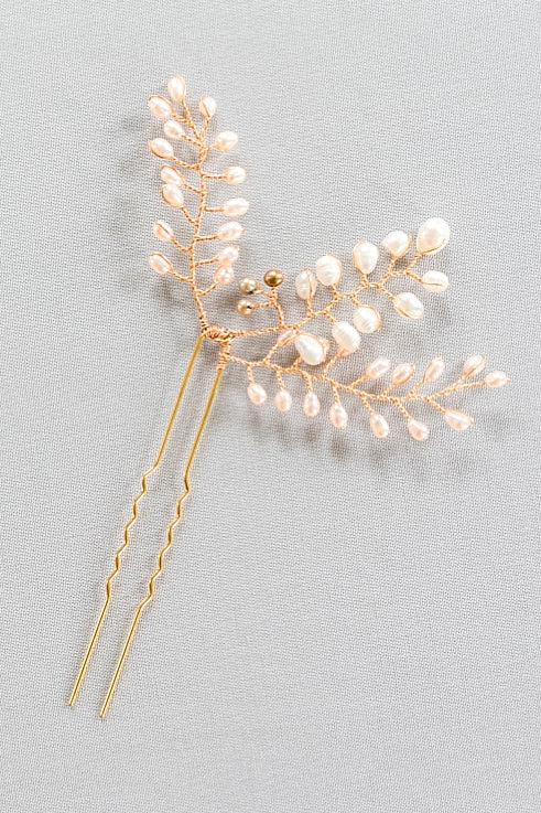 pearl branches blush bridal vines hairpin flexible bridal headpiece by j'adorn designs