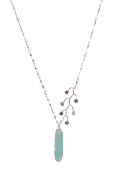 Asymmetrical silver necklace with turquoise amazonite spike pendant and tourmaline vine accent. Artisan jewelry and luxury bridal accessories handmade in Maryland by Alison Jefferies of J'Adorn Designs.