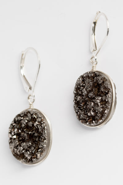 Black druzy oval gemstone earrings in sterling silver, handcrafted jewelry by J'Adorn Designs