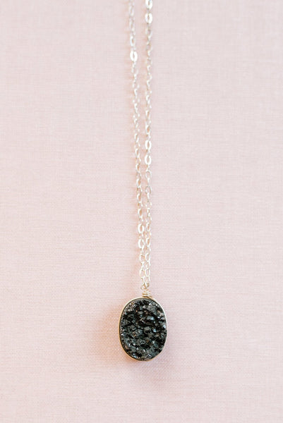 Black and sterling silver druzy necklace, druzy pendant necklace in sterling silver, sparkly black gemstone necklace, edgy jewelry, alternative strong women's jewelry by J'Adorn Designs custom jeweler in Maryland