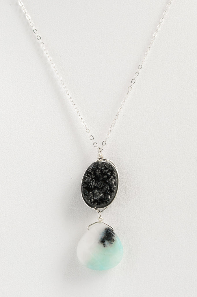 Black and blue pendant necklace, sterling silver necklace with oval black druzy and teardrop blue amazonite pendant on a thin chain, J'Adorn Designs handmade jewelry