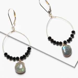 Silver Hoop Earrings with Labradorite and Black Spinel