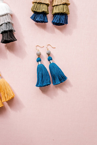 Navy blue tassel earrings, blue and grey tassel earrings, high quality tassel jewelry, summer jewelry trends, gemstone tassel earrings, by J'Adorn Designs custom jewelry made in Baltimore Maryland