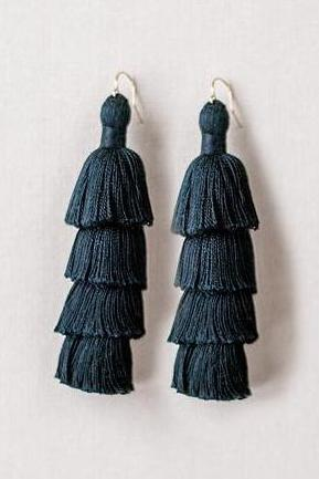 Black tiered tassel earrings, winter tassel earrings, high quality tassel jewelry, summer jewelry trends, gemstone tassel earrings, by J'Adorn Designs custom jewelry made in Baltimore Maryland