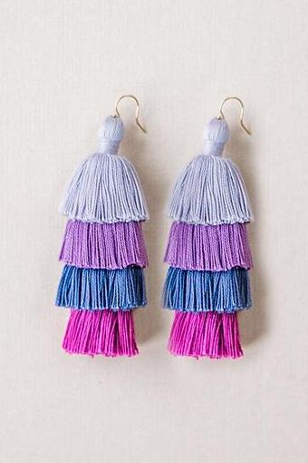 58fc3a7bc85 Tiered Tassel Earrings in Purple
