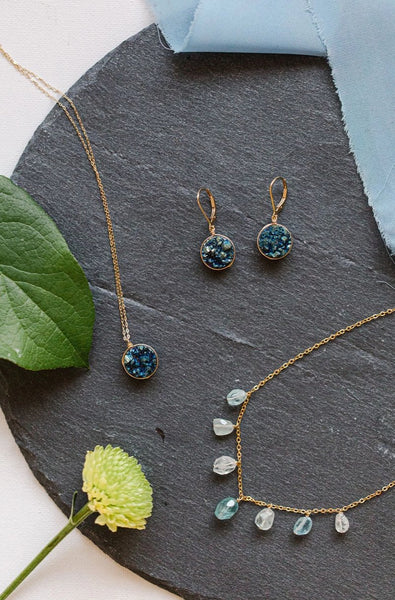 Teal Druzy Earrings in Gold