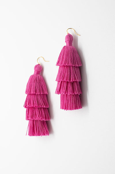 Pink tiered tassel earrings, luxury fashion jewelry, tassel earrings in bright pink, tassel jewelry by J'Adorn Designs handcrafted jewelry made in Maryland