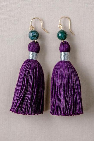 Purple tassel earrings, purple and green tassel earrings, high quality tassel jewelry, summer jewelry trends, gemstone tassel earrings, by J'Adorn Designs custom jewelry made in Baltimore Maryland