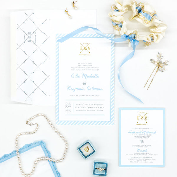 Classic pearl wedding necklace, something blue wedding details inspiration featuring J'Adorn Designs and The Garter Girl