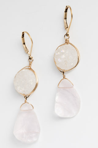 Handcrafted gemstone bridal earrings, druzy and rose quartz drop earrings in gold, lightweight hypoallergenic earrings by J'Adorn Designs artisan jewelry