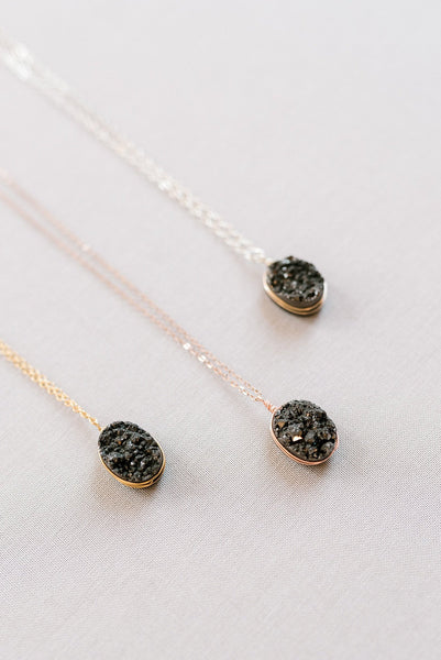 Black and rose gold druzy necklace, druzy pendant necklace in rose gold, sparkly black gemstone necklace, edgy jewelry, alternative non feminine jewelry by J'Adorn Designs custom jeweler in Maryland