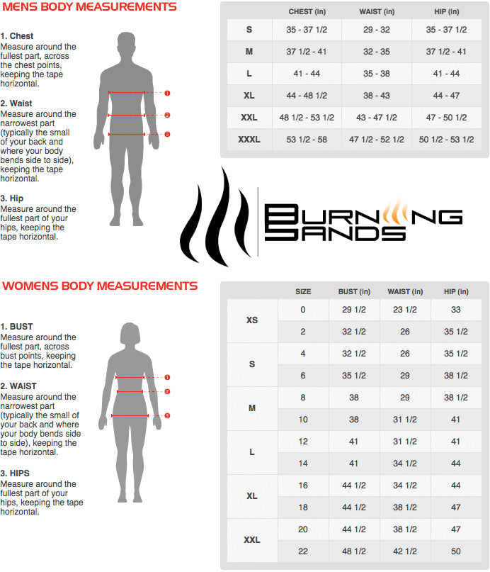 Burning Sands Sizing Chart