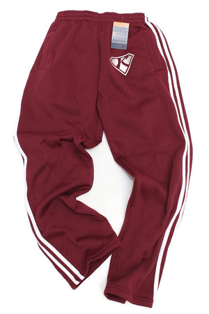 Post Up Diamond-K striped sport sweats, krimson