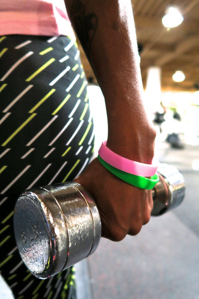 Slick Fitness Power Bands, pink & green pair