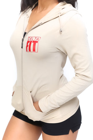 FIT Delta Warm-Up track jacket, cream
