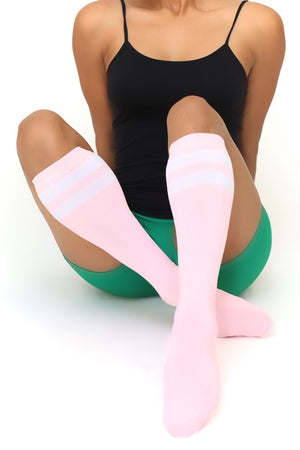 High & Tight knee-high sports socks, pink