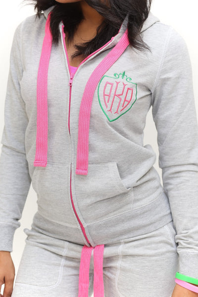 Royalty AKA track suit jacket, grey/pink