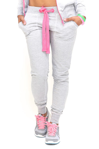 Royalty track suit joggers, grey/pink