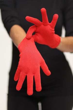Toasty Fingers gloves, womens red