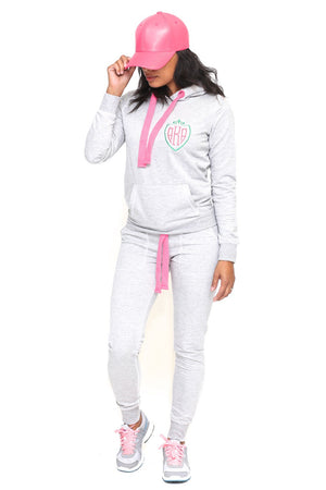 Royalty AKA track suit hoodie, grey/pink