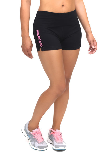 Mind, Body & AKA yoga shorts, black