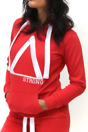 Strong Δ track suit hoodie, red/white