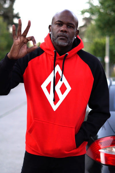 BOSS Nupe Diamond-K raglan hoodie, red/black
