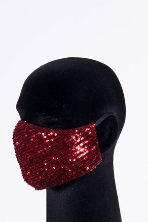 Covered! Sequin mouth mask, crimson