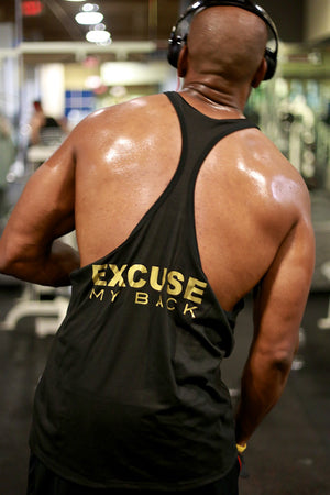 Excuse My Back APE stringer tank, black