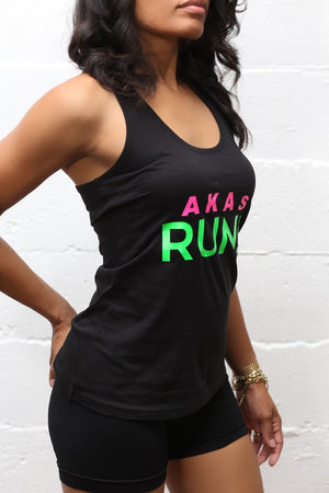 AKAs RUN racerback tank, black