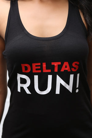 Deltas RUN racerback tank, black