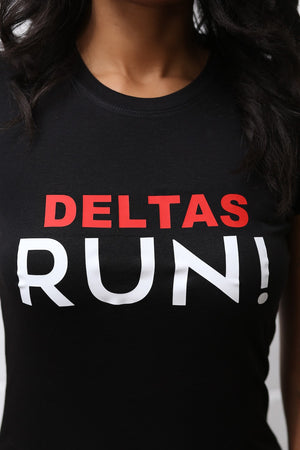 Deltas RUN workout tee, black