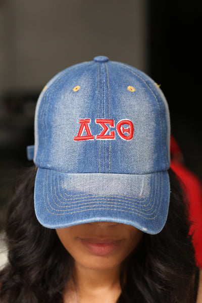 My ΔΣΘ Jeans polo dad hat, light denim