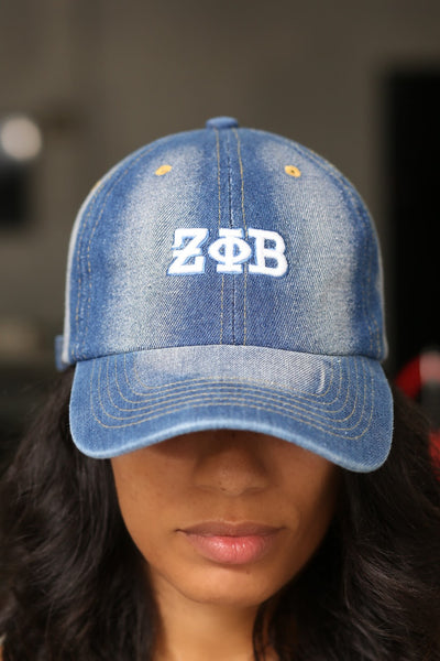 My ΖΦΒ Jeans polo dad hat, light denim