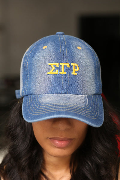 My ΣΓΡ Jeans polo dad hat, light denim