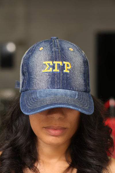 My ΣΓΡ Jeans polo dad hat, dark denim