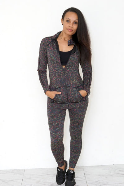 Fine Line legging/jacket set, grey
