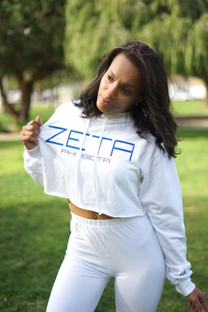 I Said My Soror Zeta cropped hoodie, white