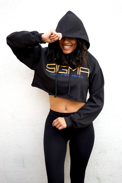 I Said My Soror SGRho cropped hoodie, black
