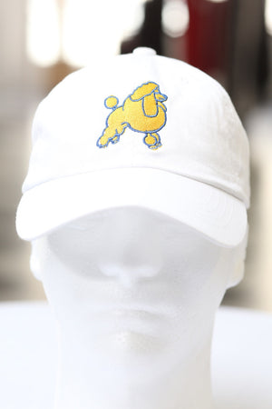 Frenchie Poodle polo dad hat, white
