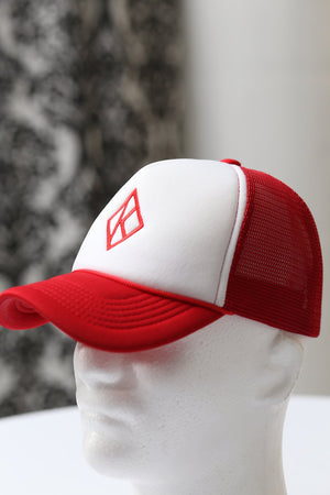 Diamond-K Klassic trucker, red/white