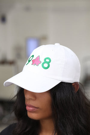 19-IVY-8 polo dad hat, white