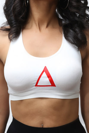 Super Delta sports bra, white