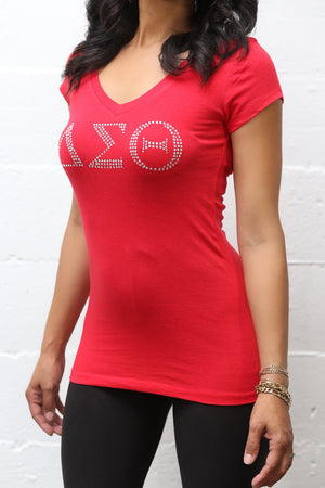 Rhinestone Workout Delta tee (v), red