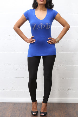 Rhinestone Workout Zeta tee (v), blue